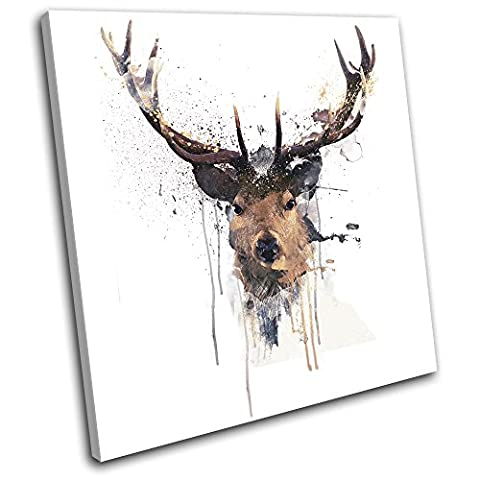 Bold Bloc Design - Stag Deer Paint Abstract Animals 60x60cm SINGLE Canvas Art Print Box Framed Picture Wall Hanging - Hand Made In The UK - Framed And Ready To Hang