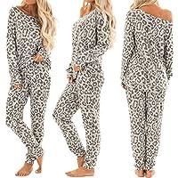 OPAKY 2 Unids Mujeres CháNdal Pantalones Estampados De Leopardo Conjuntos Ropa De Ocio Desgaste del Desgaste del SalóN