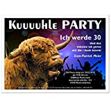 Einladungskarten zum Geburtstag Erwachsene, Mann Frau - für jedes Alter Wunschalter 30 40 50 Kuuuhle Party mit Stier, 40 Karten - 17 x 12 cm