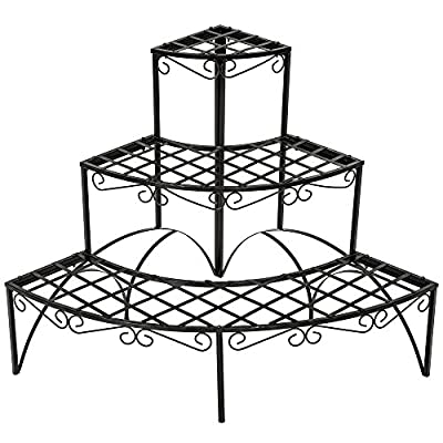 TecTake 3 TIER METAL GARDEN PLANT POT DISPLAY SHELF STAND FLOWER PATIO DECK IN- & OUTDOOR 60x60x60cm - max. load: 30kg - different models produced by TecTake - quick delivery from UK.
