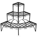 Outdoor Plant Stands TecTake 3 TIER METAL GARDEN PLANT POT DISPLAY SHELF STAND FLOWER PATIO DECK ROUND INDOOR & OUTDOOR 60x60x60cm - max. load: 30kg