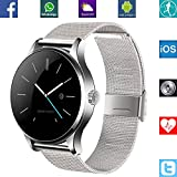 Banaus® B4 Newest SmartWatch with Bluetooth 4.0 Support Heart Rate Monitor for Samsung Galaxy S4/S5/S6/S7/Note3/Note4/Note5/Note6 HTC Sony LG Xiaomi Huawei ZUK and iPhone 5/5C/5S/6/6S/7 Silver