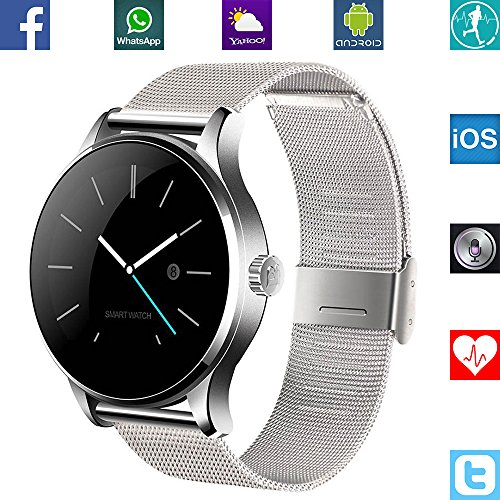 BANAUS B4B B4 Smart Watch Smartwtach con Bluetooth 4.0 Heart Rate Monitor per iPhone 6/6S/7/7S/8/8S/X/Xr/XS/Max/Samsung S6/S7/S8/S9/Note5/Note6/Note7/Note8 (Black)