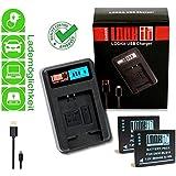 LOOKit LCD Cargador + 2x LOOKit Premium Baterías BLG10 para Panasonic Lumix DMC TZ100 TZ101 TZ80 TZ81 GX80