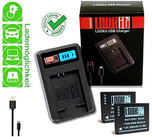 Preisvergleich Produktbild 2x LOOKit Akku BLG10 (echte 850mAh) + LOOKit LCD USB Ladegerät für Panasonic Lumix DC TZ202 TZ91 TZ81 TZ101 TZ81 GF6 GX7 GX80 LX100