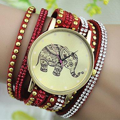 XKC-watches Relojes de Mujer, Reloj Pulsera patrón de Remaches de Diamantes de imitación de la Moda del Elefante del Estilo Europeo de Las Mujeres (Color : Rojo)