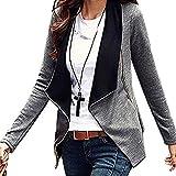 Minetom Mujer Casual Manga Larga Cardigan Top Coat Blazer Jacket Outwear Blusa Traje Gris ES 40