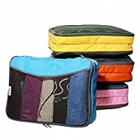 �?? Easy to Organise Lightweight Packing Cubes with 2 Pockets - Organisers for Suitcase Backpack Rucksack and other Luggage - Quality Travel Organiser Accessories by OW-Travel (Medium, Multicolour)