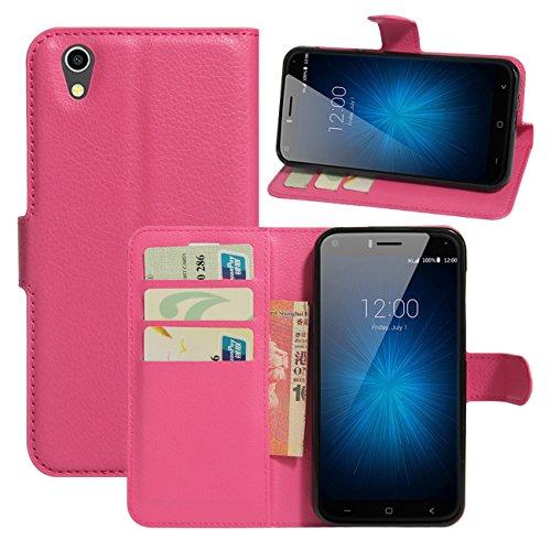 HualuBro UMIDIGI London Hülle, [All Aro& Schutz] Premium PU Leder Leather Wallet Handy Tasche Schutzhülle Case Flip Cover mit Karten Slot für UMIDIGI London 5.0 Inch 3G Smartphone (Rose)
