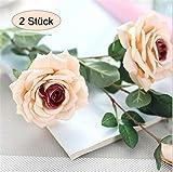 ZOCONE Kunstblumen, 2 Stück Künstliche Rose, Bridal Bouquet, Brautstrauss Blumen, Hochzeit Party oder Home Dekoration, Wohnaccessoires Blume (Champagner)