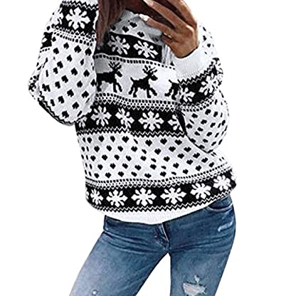 Suéter Mujer, LANSKIRT Mujeres Manga Larga Navidad Estampado de Ciervo Cuello Sudadera Redondo Jersey Suéter