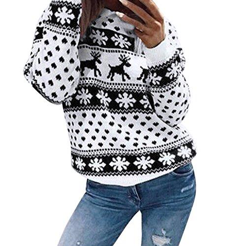 Yvelands Damen Weihnachten Weihnachten Blumendruck Langarm Bluse Top Sweatshirt Pullover Bluse T-Shirt Sweatshirt