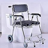 Commode Chair Yuehg Toilettenstuhl Verchromter Stahl Mit Deckel Rollstuhl Mit WC-Eimer Fahrbarer Duschstuhl Mit Feststellbare Bremsen Maximale Belastbarkeit 180 Kg,Black Vergleich