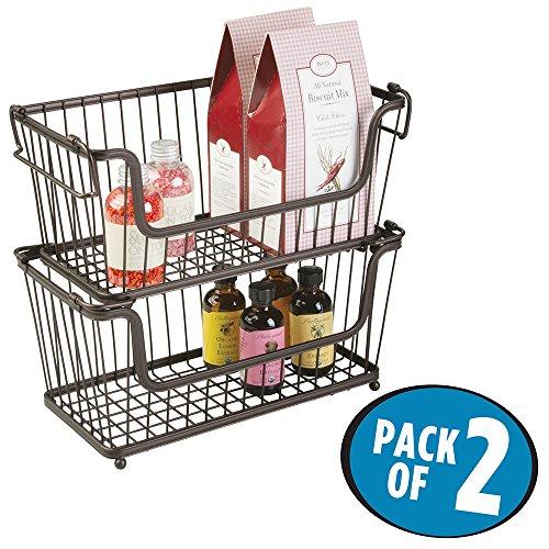 mDesign - Cesta almacenaje apilable con apertura frontal y asas color bronce - Organizador cocina de acero de alta calidad - Uso universal en la cocina, despensa o baño