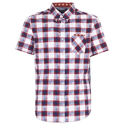 Desigual SURETEC Hemden Herren Blau/Rot/Weiss - L - Kurzärmelige Hemden