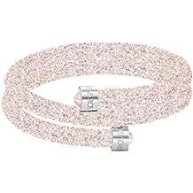 Swarovski Brazalete Crystaldust Double, rosa, acero inoxidable
