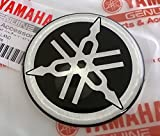 100% GENUINE 50mm Durchmesser YAMAHA STIMMGABEL Aufkleber Sticker Emblem Logo SCHWARZ / SILBER Erhöht Gewölbt Gel Harz Selbstklebend Motorrad / Jet Ski / ATV / Schneemobil