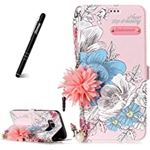 "Galaxy S8 5.8"" Case Wallet, Samsung Galaxy S8 Phone Case, Slynmax [Florid Series] Premium PU Flip Folio Leather Cell Phone Case with Pearl Flower Chain Shoulder Messenger Phone Wrist Strap Bag for Women Girl Ultra Slim Fit Bookstyle with Folding Stand Card Holder Organizer Business ID Slots Purse Magnetic Closure Silicone TPU Shockproof Protective Case Smart Shell for Samsung Galaxy S8+ 1* Stylus Pen"