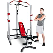 Marcy MD-8851R Deluxe Power Rack Home Gym and Weight Bench - White/Red, One Size