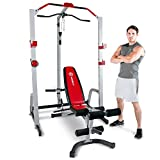 Marcy MD-8851R Deluxe Power Rack Home Gym and Weight Bench – White/Red, One Size