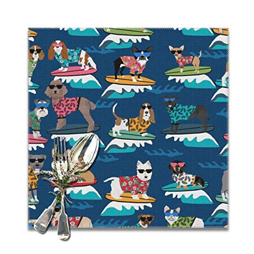 best gift Placemats,Surfing Dogs Hang Ten Summer surf Surfs up Cute Dog Navy Heat-Resistant Washable Cotton Placemats,Polyester Linen Dining Table Mats for Kitchen,Set of 6,12x12 inch