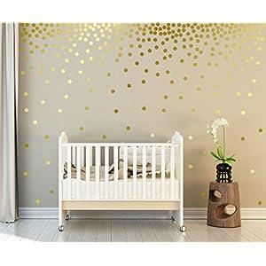 WandSticker4U®- Wandtattoo 162 goldene Punkte zum Kleben | Wandsticker Kinder Sternenhimmel Wandbild Aufkleber Kreise | Wand Deko für Babyzimmer Kinderzimmer Schlafzimmer Flur Möbel Wohnaccessoires