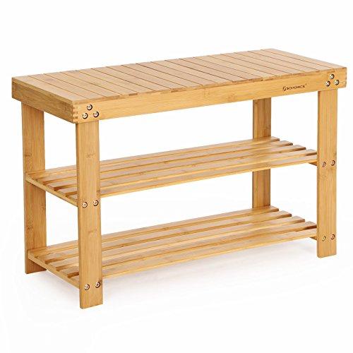 SONGMICS Schuhregal, Schuhschrank mit Sitzbank, Bambus Schuhbank mit 3 Ablagen, 70 x 28 x 45 cm ideal für Flur, Bad, Wohnzimmer, Diele LBS04N (Schlafzimmer Bänke)