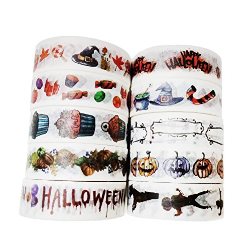 0m Halloween Themed Dekorative Washi Tape 10 Stk (Aller Heiligen Tag Kostüme)