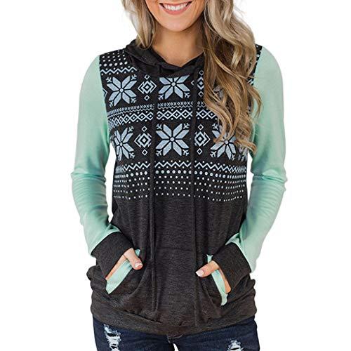 Kostüm Women's 1970's - ODRD Weihnachten Damen Patchwork Oversized Hoodies Christmas Sweaters Gedruckt Long Sleeve Loose Sweatshirt Bluse Pullover Shirt Tops Womens Sweater Herbst Winter S/M/L/XL