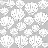 GRAZDesign 300170_57x57_WT010 Wandtattoo Muscheln für Bad | Selbstklebende Klebe-Folie für Wände - Fliesen - Spiegel | Wand-Aufkleber als Set mit 20 unterschiedlichen Muscheln Größen (57x57cm // 010 weiss)
