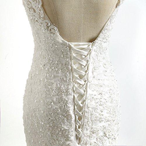 CoCogirls - Robe - Col en V - Femme blanc Weiß 40 Ecru