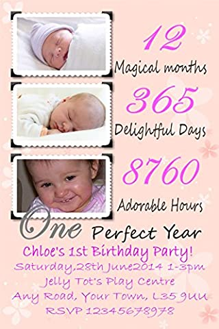 20 Personalised My 1st Birthday party invitation Posted 1st class Pink FREE P&P