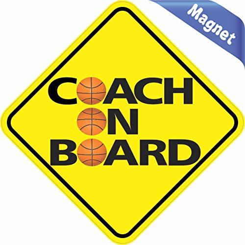 stickertalk. COM md-20-24 in X 4,5 (114 114 mm) Basketball Coach On Board Vinyl Bumper Magnet KFZ Aufkleber 11,4 x 11,4 cm (114 x 114 mm)