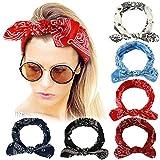 Bascolor Stirnband Damen elastische Haarband Kopfband Weich Turban Stirnband für Alltag Yoga Sport Fitness (6pcs cashew-blume stirnband B)
