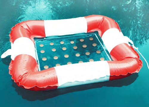 Getränkekühler Bierkasten Schwimmring rot/weis