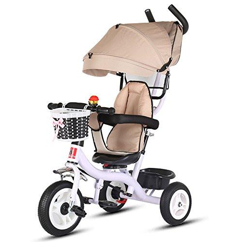LZTET Poussette Baby Stroller Travel System Tricycle pour Enfants Multifonction Quatre-en-Un Fold Portable Cart Pédale à Pédale,Spacewheel-Khaki