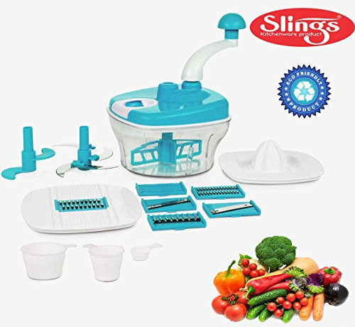 Slings 14 pcs Manual Food Processor - Chopper, Blender, Atta Maker, Dough Kneader - Sky Blue  available at amazon for Rs.395