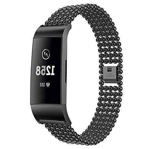 6SlonHy Art- und Weiseaustausch justierbare Legierungs-dauerhafte Kugel bördelt Smartwatch-Band-Armband-Bügel für Fitbit-Gebühr 3 Schwarz Regulär - Tweed-band