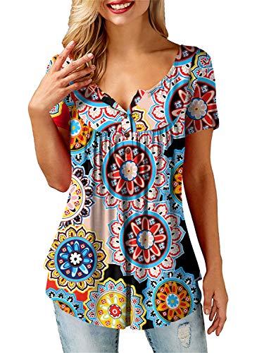 Floral-design-t-shirt (AMORETU Damen Bluse Floral Print Oberteil mit Knopfleiste, Orange, L/DE 42)