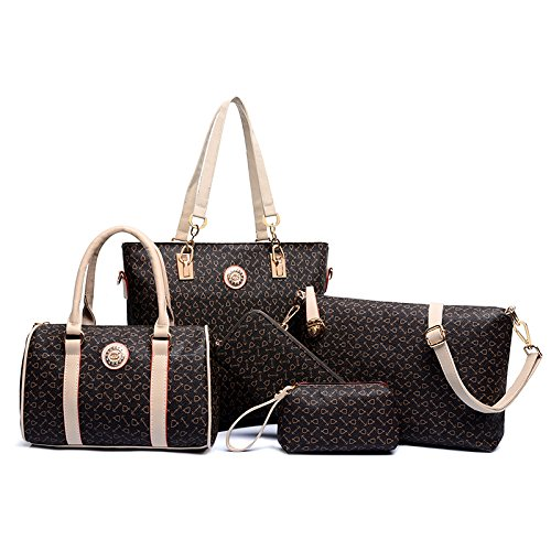 X&L Polyester dunkel braun pure Tasche Sandwich Reißverschluss Taschen Frauen Umhängetasche 6 teiliges set Dark Brown