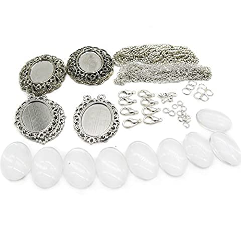 TOAOB Pendants Kits Assorted Base Settings Clear Glass Dome Cabochons and Silver Findings for Jewellery