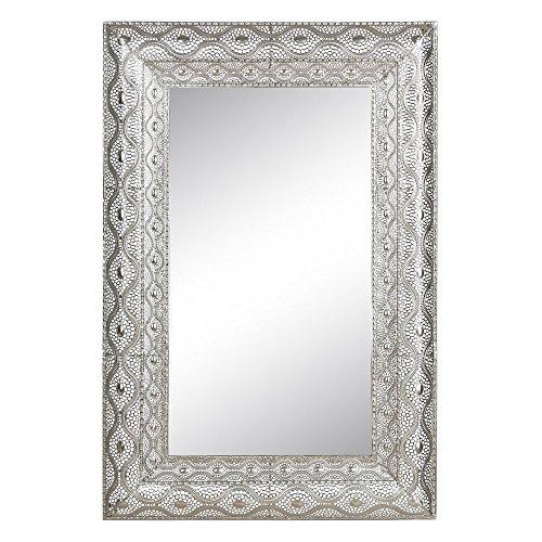 Espejo de pared de metal plateado moderno para la entrada de 60 x 90 cm Arabia - LOLAhome