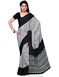 Pisara Women'S Crepe Silk Printed Saree,Black & White