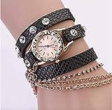 Valice Paris Damen Armbanduhr Wickelarmband mit Kette schwarz Strass Steine