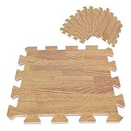 4pz 60x60cm Tappeto A Puzzle In Gommapiuma EVA Grana Del Legno Ad Incastro Tre Colori (Light Brown 6