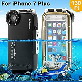 Unterwasser Fall Underwater case For iPhone 7 Plus AIGUMI 40M Diving Case Tauchen Wasserdichte Telefon Tasche IPX8 wasserdichtes Gehäuse mit 32mm Gewinde(schwarz, IP7S)