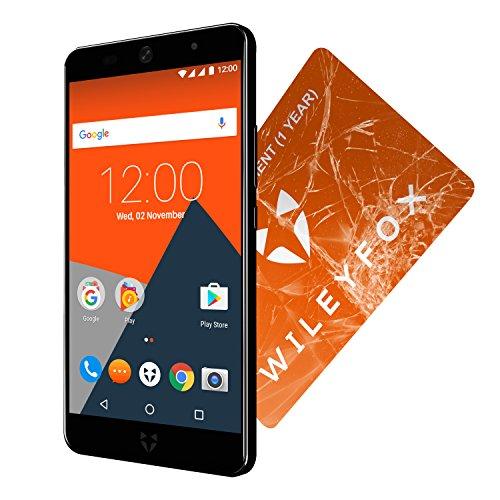 Wileyfox Swift 2 - 5-Zoll-HD Display - 16GB interner Speicher + 2GB RAM Speicher (Dual-SIM-Funktionalität 4G) SIM freies Smartphone Android Nougat 7.1.1  - Mitternachtsblau mit Ersatzbildschirm Non-touch-bundle