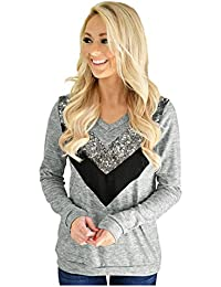 SODIAL(R) Women Winter Patchwork Comfortable V-neck Long-Sleeved Stitching Knitted T-shirt Pullovers(GREY,S/US~4/UK~8)
