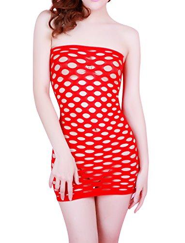 MissSoul Damen Dessous Sexy Erotik Reizwäsche Frauen Lingerie Body Wäsche Unterwäsche Negligee Trägerlos Mesh Höhle Korsett Minikleid,Rot (Rot Lippenstift Kleid)