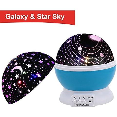 MKQPOWER la luz del cosmos+Lámpara LED 2 cubrir giratoria 360 grados Luz romántica de habitaciones Cosmos proyector de estrellas para la